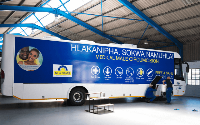 Exterior of circumcision mobile clinic