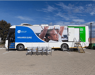 Mobile wellness clinic outside a school